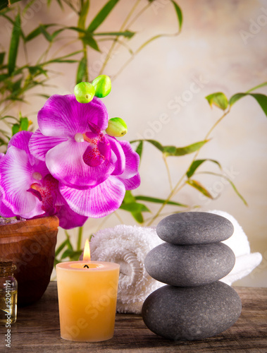 Spa still life with aromatic candle - 52041191