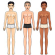 Three men from different ethnic groups in underwear