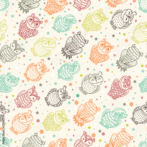 Various amusing owls seamless pattern - 52041374