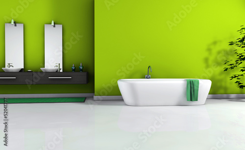 Green Bathroom Interior