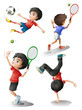Four boys playing different sports