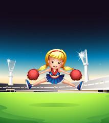 A little cheerleader in the field