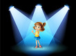 A girl standing in the spotlight