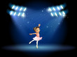 A little girl dancing ballet with spotlights