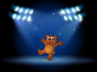 A bear with spotlights