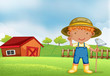 A farmer holding a hoe