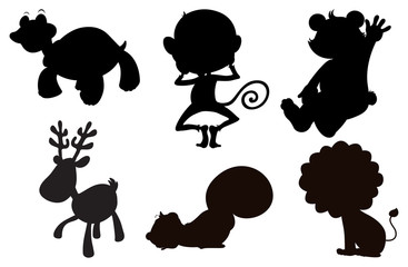 Different animals in black, gray and brown colors