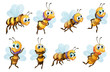 Eight Bees In Different Positi...