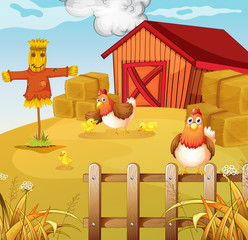 A farm with two chickens and three chicks