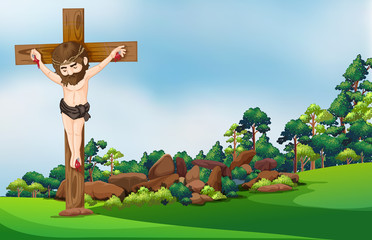 A cross at the forest