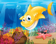 A yellow shark under the sea with starfish and corals