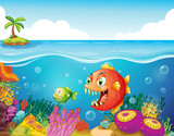 A sea with colorful coral reefs and fishes