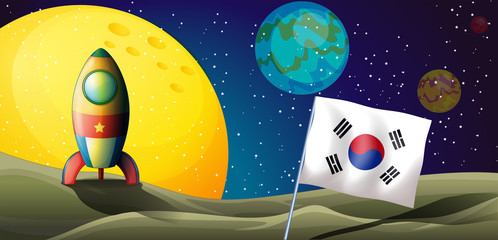 A spaceship near the Korean flag at the outerspace