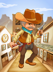 A man holding a gun with a hat outside the saloon