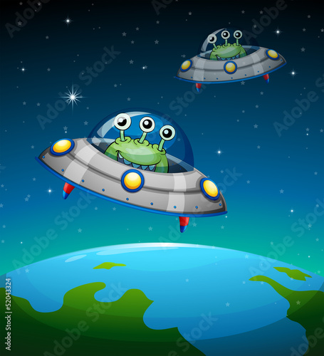 Spoed canvasdoek 2cm dik Schepselen Spaceships with aliens
