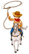 A boy riding a horse with a hat and a rope