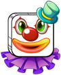A square-shaped face of a clown with a violet collar