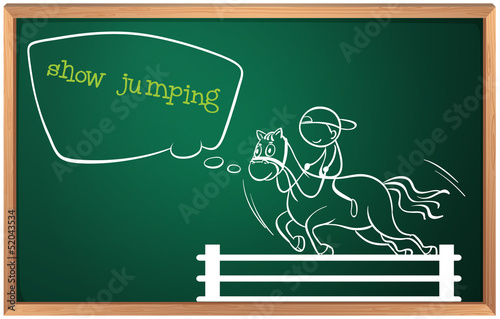 A blackboard with a drawing of a boy performing show jumping