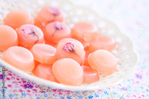 Homemade sweets with cherry blossom (Sakura), selective focus