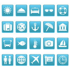 Travel icons on blue squares