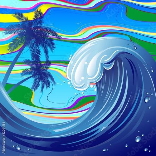 Sea Ocean big Wave-Water-Onda Oceano Mare e Palme