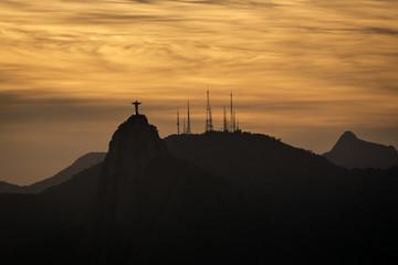 Christ the Redeemer at sunset in Rio de Janeiro