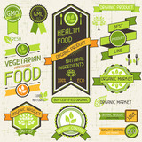 Organic food banners. Set of labels and stickers.