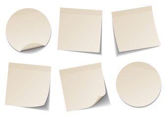 Set Of 6 Beige Stick Notes