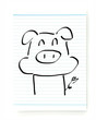 Hand drawn pig on striped paper