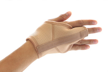 Wrist and finger brace support isolated on white