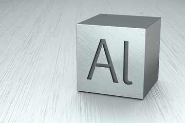Aluminum cube with Al mark