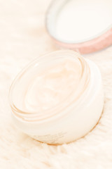 Cosmetic cream in jar close up angle