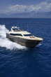 Italy, Tyrrhenian sea, 82' luxury yacht, aerial view