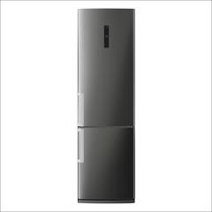 Metallic refrigerator under the white background