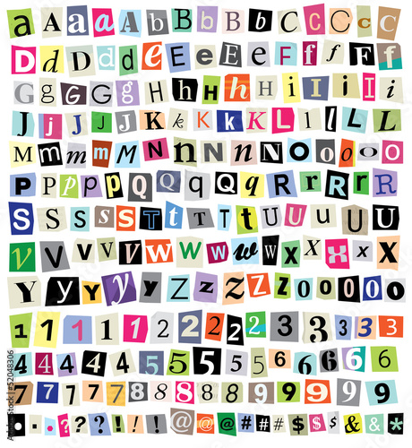 Vector Ransom Note- Cut Paper Letters, Numbers, Symbols - 52048306
