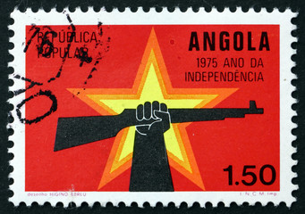 Postage stamp Portuguese Angola 1975 Star and Hand Holding Rifle