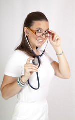 Attractive female doctor with a stethoscope