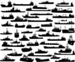 Set of 50 silhouettes of sea yachts, towboat and the ships