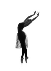 Black and white trace of young beautiful ballet dancer