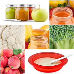 Collection of baby food backgrounds