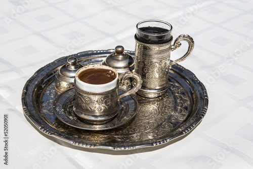 Cup of Turkish Coffe with water