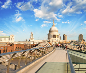 St Paul Cathedral view from the Millennium Bridge, London
