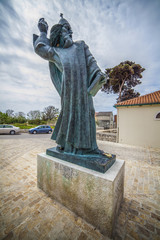 Statue of Bishop Gregory of Nin on of the symbols of Split