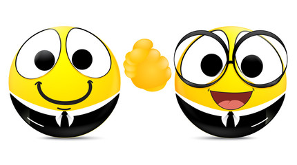Two emoticons shaking hands . business concept