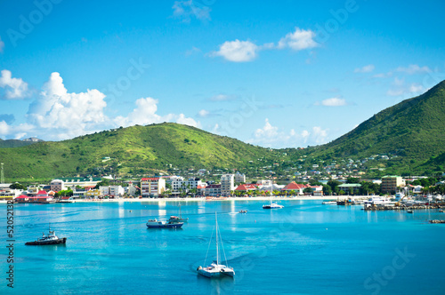 Fotobehang Caraïben Beautiful panorama of Philipsburg, Saint Martin, Caribbean Islan