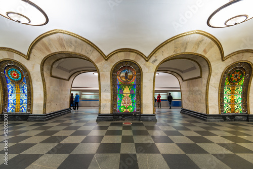 The metro station Novoslobodskaya in Moscow, Russia