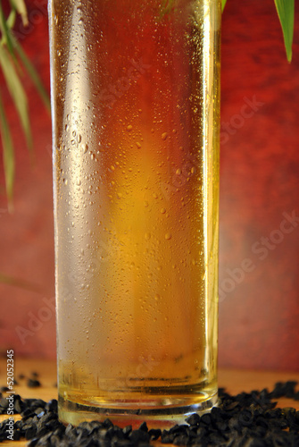 macro of a glass of beer
