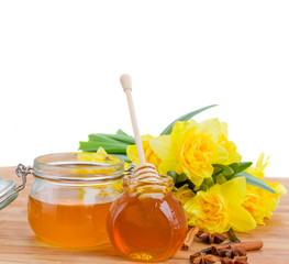 floral honey on white