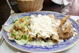 Enchiladas with cheese and beans