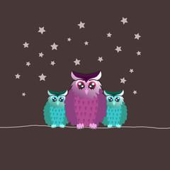 Familie Uhu mit Sternen